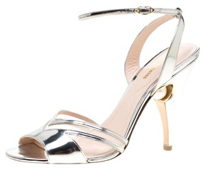 Nicholas Kirkwood Leather Mesh Pearl Embellished Ankle Strap Silver Sandals