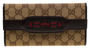 Gucci Beige GG Canvas Horsebit Web Interlocking Continental Wallet