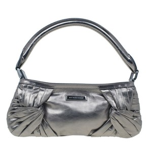 Burberry Calfskin Leather Satchel in Silver