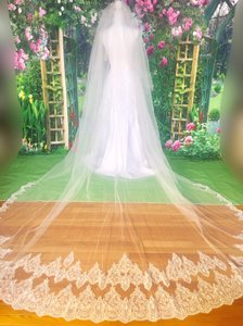 Long White/Ivory 3m/10 Ft 2 Tiers Blusher Cover Face Cathedral Shining Sequined Lace with Comb Bridal Veil