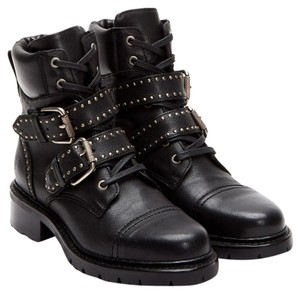 Frye Leather Belted Studded Ankle Black Boots