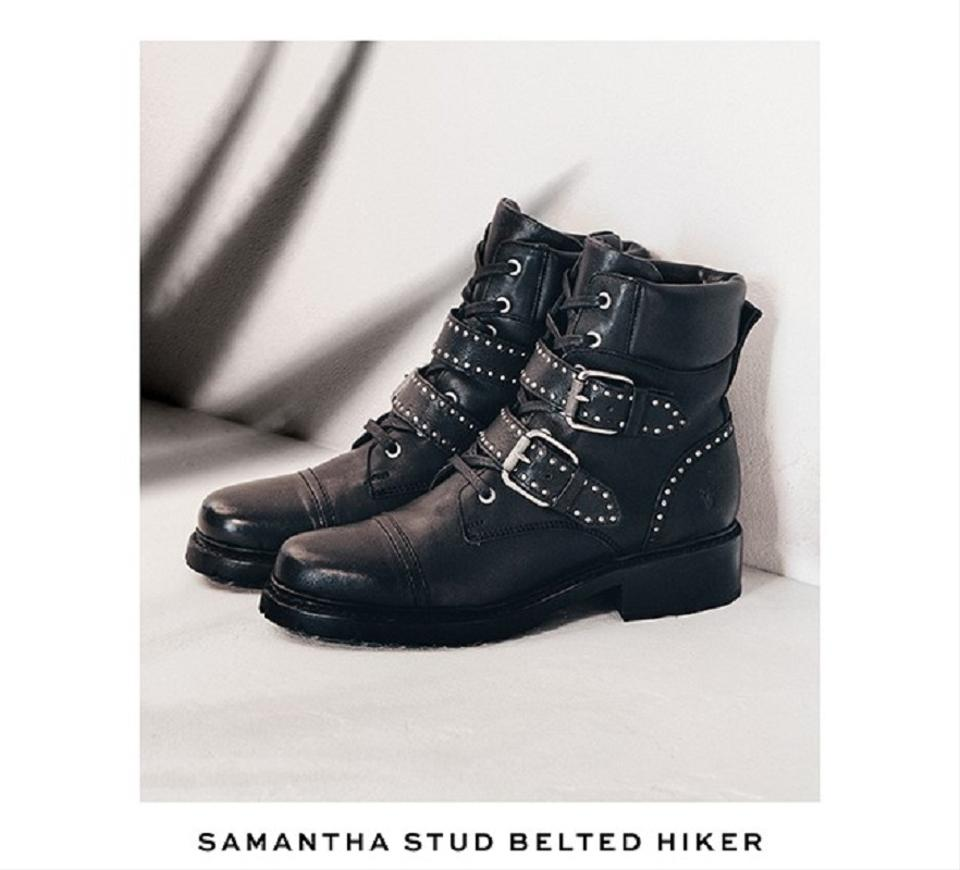 51c8cebbc01 Frye Black Samantha Stud Belted Hiker Boots/Booties Size US 7.5 Wide (C, D)  48% off retail