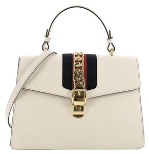 Gucci Leather Top Handle Satchel in white