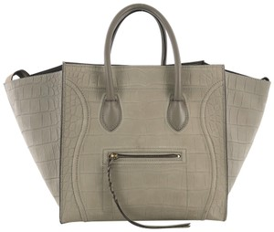 Céline Crocodile Embossed Tote in gray