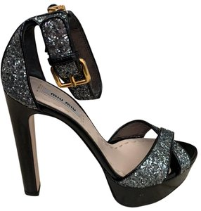 Miu Miu black with silver sparkle Platforms