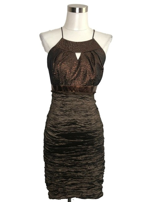 Item - Brown N250 Designer Small Solid Bodycon Short Cocktail Dress Size 6 (S)