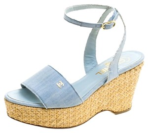 Chanel Canvas Wedge Blue Sandals