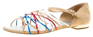 Chanel Leather Suede Flat Multicolor Sandals