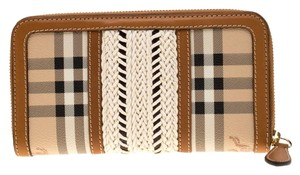 Burberry Beige/Brown House Check PVC and Leather Zip Around Wallet