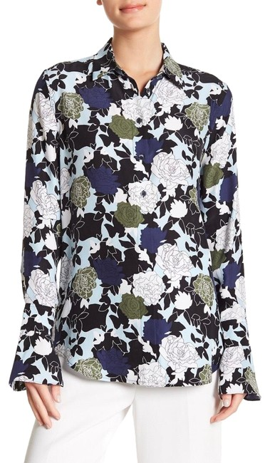 Item - Black Blue Green and White Daphne Floral Silk Blouse Button-down Top Size 2 (XS)