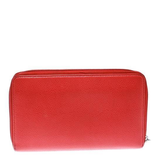 Chanel Coral Red Caviar Leather Large CC Zip Around Wallet Image 1