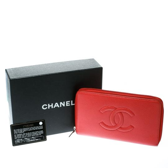 Chanel Coral Red Caviar Leather Large CC Zip Around Wallet Image 10