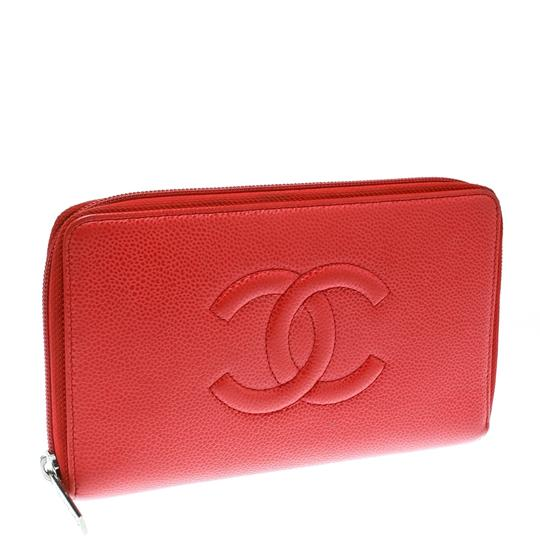 Chanel Coral Red Caviar Leather Large CC Zip Around Wallet Image 2