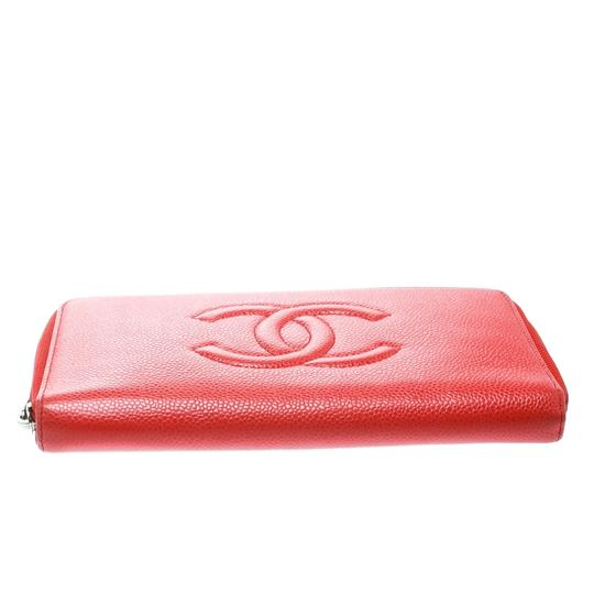 Chanel Coral Red Caviar Leather Large CC Zip Around Wallet Image 3