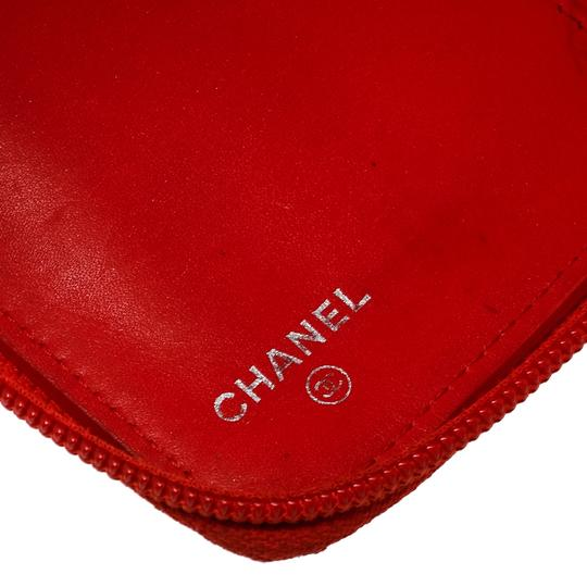 Chanel Coral Red Caviar Leather Large CC Zip Around Wallet Image 5