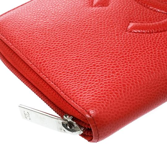 Chanel Coral Red Caviar Leather Large CC Zip Around Wallet Image 7