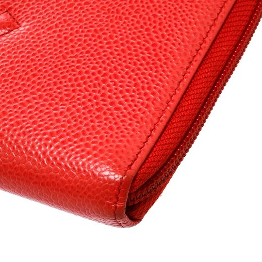 Chanel Coral Red Caviar Leather Large CC Zip Around Wallet Image 8