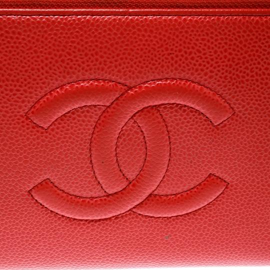 Chanel Coral Red Caviar Leather Large CC Zip Around Wallet Image 9
