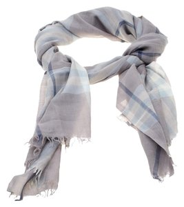 Burberry Grey Checked Gauze Fringed Edge Scarf