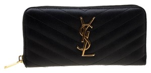 Saint Laurent Black Leather Monogram Zip Around Wallet