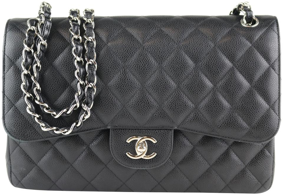 0d214fbd96f4 Chanel Classic Double Flap Jumbo Black Caviar Shoulder Bag - Tradesy