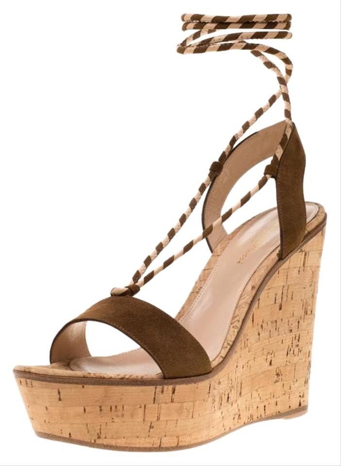 aac1d3a2a3 Gianvito Rossi Brown Suede Ankle Wrap Cork Sandals Wedges Size EU 40 ...