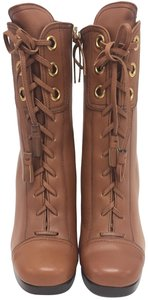 Miu Miu Knee High Lace Up Mid Calf Brown Leather Boots