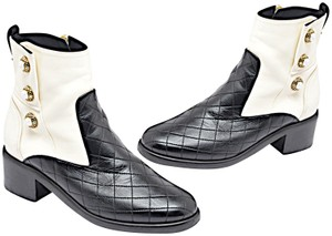 Chanel Quilted Button Accent Black & White Boots