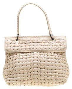 Bottega Veneta Leather Satchel in White