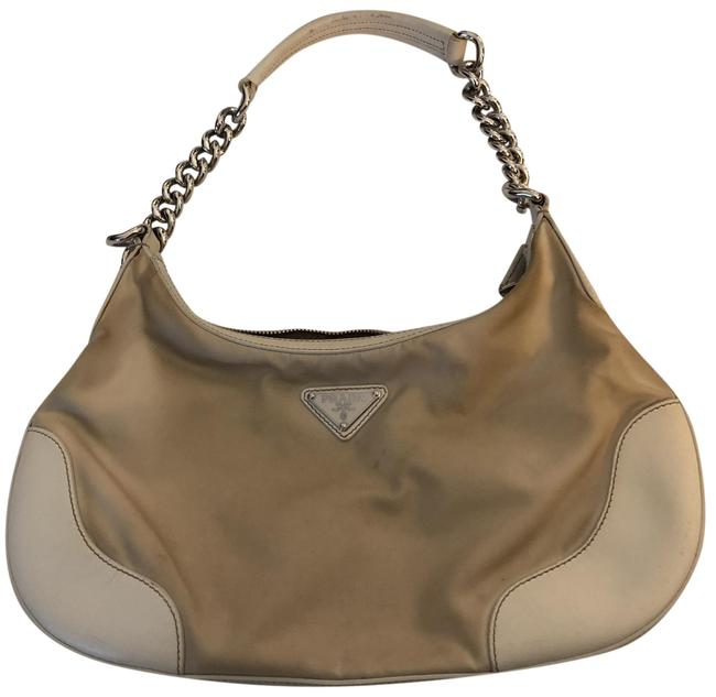 Item - W Vela/Lthr Md Zt W/Chain Cream with Silver Chain Nylon Leather and Hobo Bag