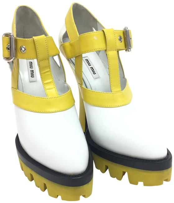 Item - Yellow / White Leather Platform 5ip455 Pointed Toe High Heels Wedges Size EU 40 (Approx. US 10) Regular (M, B)