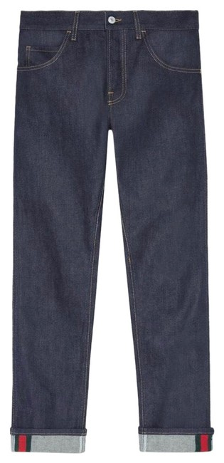 Item - Dark Blue Stretch Denim Men's Tapered with Web (430368 Xr188 4393) Trouser/Wide Leg Jeans Size OS (one size)