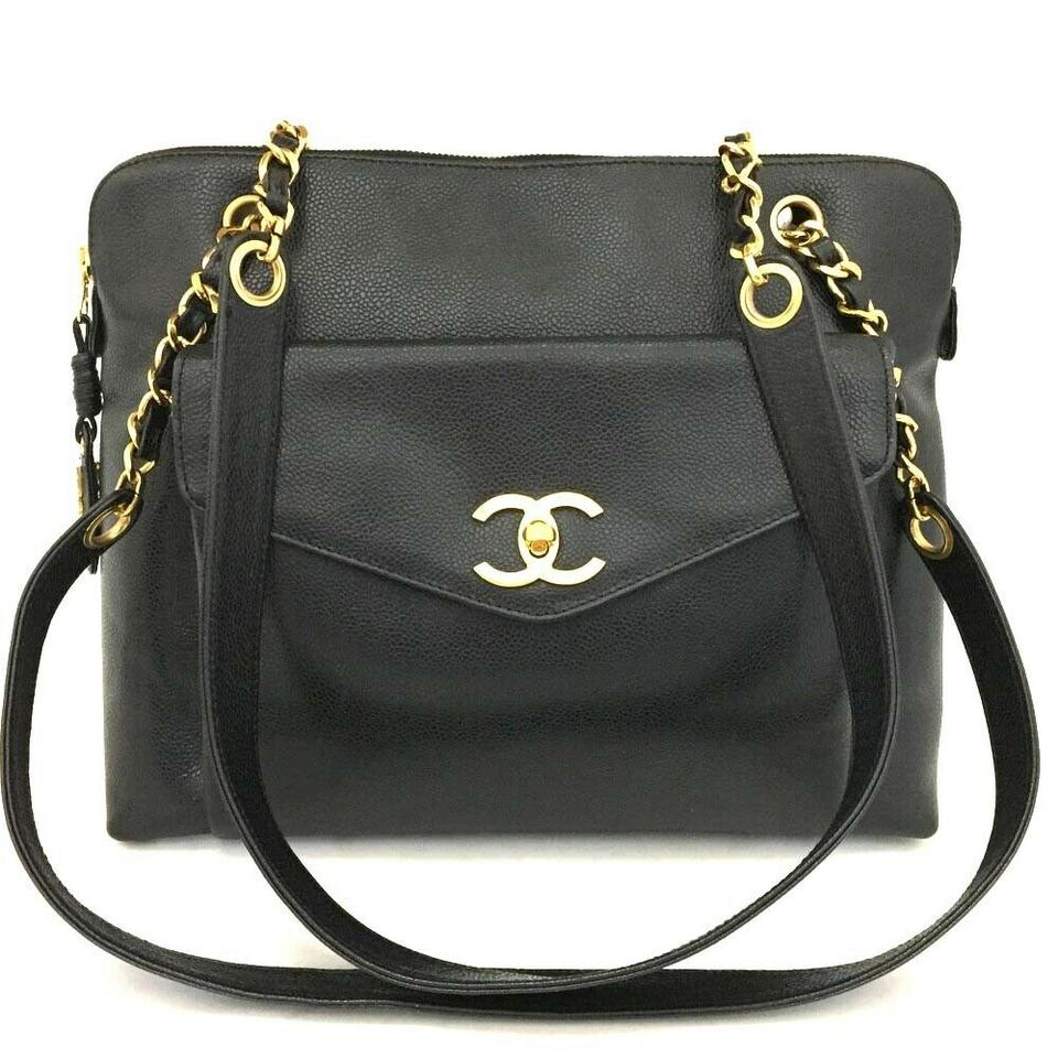 782647185bf Chanel Shopping Cc Caviar Skin Chain Tote 7345 Black Leather Shoulder Bag  48% off retail