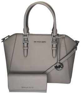 ee662abcc000 Michael Kors Ciara Trifold Matching Wallet Satchel in Cement
