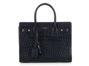 Saint Laurent Ys.q0405.08 Navy Embossed Silver Hardware Reduced Price Shoulder Bag