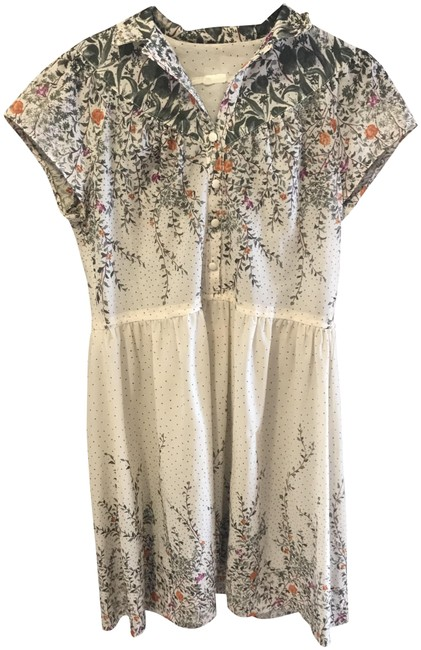 Item - Ivory Floral Short Casual Dress Size 6 (S)