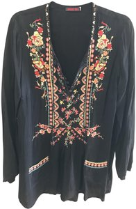 Johnny Was short dress Midnight blue with floral multicolor Embroidered Tunic Boho on Tradesy