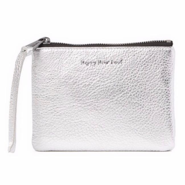 """Item - """"Happy Hour Fund"""" Pouch Silver Leather Wristlet"""