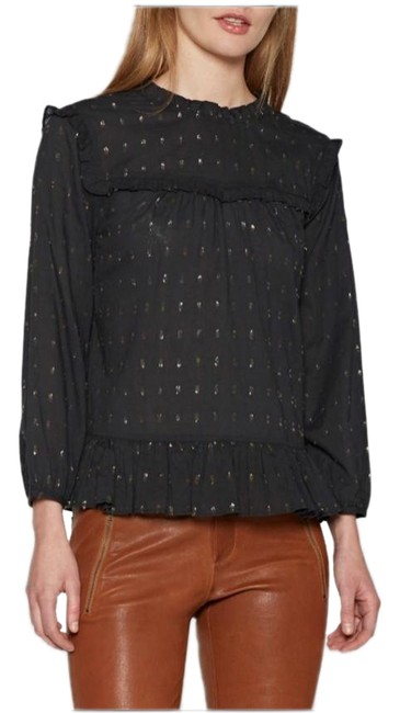 Item - Black with Gold Accents Gianella Blouse Size 2 (XS)