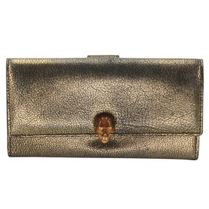 Alexander McQueen Crackled Leather Continental Skull Flap Wallet