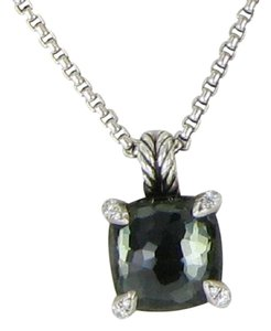 David Yurman Chatelaine 11mm Green Orchid Diamond Pendant Sterling Silver 18""