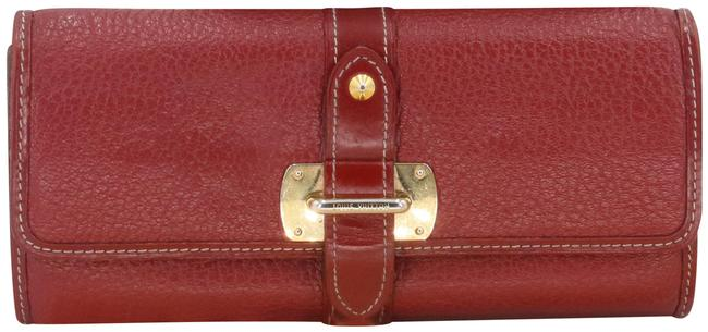 Item - Red Gold-tone Hardware Pebbled Leather Strap Buckle Long Continental Wallet
