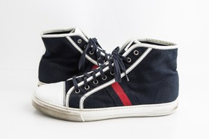 Gucci Blue Web Stripe Canvas High-top Sneakers Shoes
