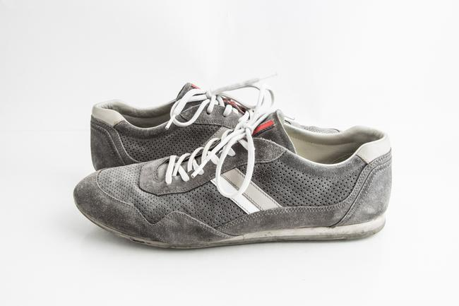Item - Grey Perforated Suede Sneakers Shoes