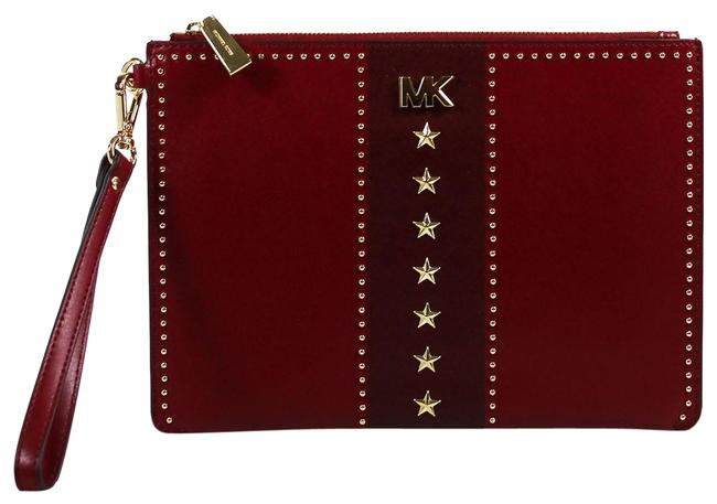 Item - Clutch Pouch Studded Zip Oxblood Gold Maroon Leather Wristlet