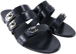 Chanel Turnlock Logo Strappy black Sandals