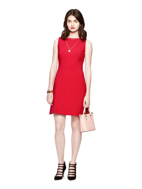 Kate Spade Red Stretch Crepe A-line Short Cocktail Dress Size 0 (XS) Kate Spade Red Stretch Crepe A-line Short Cocktail Dress Size 0 (XS) Image 1