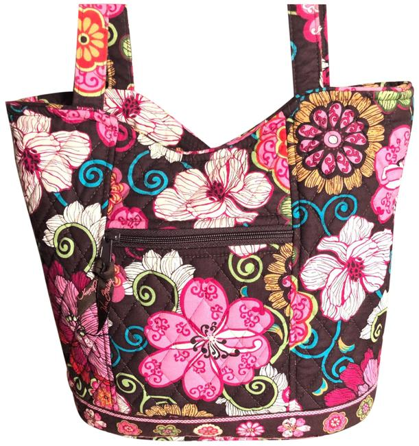 Item - Shoulder Quilted with Floral Print Brown/Cream/Purple/Pink Cotton Messenger Bag