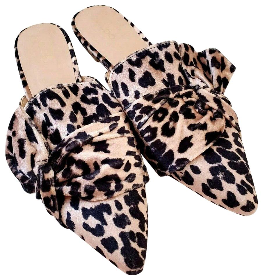 e809b07d3a ALDO Brown New Leopard Wild Animal Print Pointed Loafer Flat Mules/Slides  Size US 7 Regular (M, B)