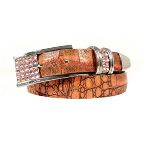 B.B. Simon B.B. SIMON Pink Crystal Buckle Croc Leather Belt Women's M